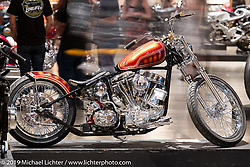 Grace, a 1953 Harley-Davidson Pan-Shovel built by Providence Cycle Worx' Xavier Muriel of Texas on display at the Handbuilt Show. Austin, Austin USA. Sunday, April 14, 2019. Photography ©2019 Michael Lichter.