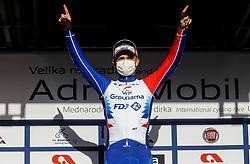 Winner Winner Marjin van den Berg (Groupama – FDJ)  celebrates at Tropht ceremony during cycling race 6th Grand Prix Adria Mobil 2021, on March 28, 2021, in Novo mesto, Slovenia. Photo by Vid Ponikvar / Sportida