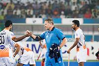RAIPUR (India) - De Nederlander Roger van Gent , assistent coach  van India  voor de wedstrijd tussen India en Argentinië bij de Hockey World League Finale toernooi .   KOEN SUYK