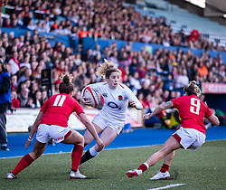 Jess Breach of England under pressure from Keira Bevan of Wales<br /> <br /> Photographer Simon King/Replay Images<br /> <br /> Six Nations Round 3 - Wales Women v England Women - Sunday 24th February 2019 - Cardiff Arms Park - Cardiff<br /> <br /> World Copyright © Replay Images . All rights reserved. info@replayimages.co.uk - http://replayimages.co.uk