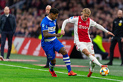 13-03-2019 NED: Ajax - PEC Zwolle, Amsterdam<br /> Ajax has booked an oppressive victory over PEC Zwolle without entertaining the public 2-1 / Darryl Lachman #29 of PEC Zwolle, Kasper Dolberg #25 of Ajax