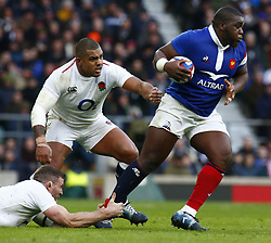February 10, 2019 - London, England, United Kingdom - L-R Kyle Sinckler of England and Demba Bamba of France..during the Guiness 6 Nations Rugby match between England and France at Twickenham  Stadium on February 10th, 2019 in Twickenham, London,  England. (Credit Image: © Action Foto Sport/NurPhoto via ZUMA Press)