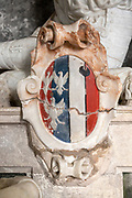Coast of Arms on memorial monument by Nicholas Stone for Arthur Coke, church of Saint Andrew, Bramfield, Suffolk, England, UK who died 1629
