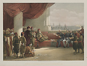 Egypt and Nubia, Volume III: Interview with the Viceroy of Egypt, at his Palace, Alexandria, 1848. Louis Haghe (British, 1806-1885), F.G.Moon, 20 Threadneedle Street, London, after David Roberts (British, 1796-1864). Color lithograph