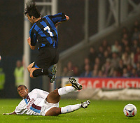 Picture by Daniel Hambury.<br /> 27/07/05.<br /> Crystal Palace v Inter Milan.<br /> Pre Season Friendly.<br /> Palace's Tom Soares beats Inter's Santiago Solaro to the ball.