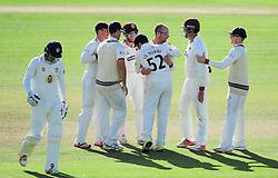 Jack Leach celebrates the wicket of Gordan Muchall with his Somerset teammates.   - Mandatory by-line: Alex Davidson/JMP - 04/08/2016 - CRICKET - The Cooper Associates County Ground - Taunton, United Kingdom - Somerset v Durham - County Championship