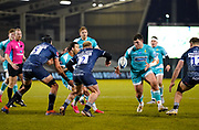 Warriors scrum-half Francois Hougaard passes to Warriors prop Ethan Waller during the Gallagher Premiership match Sale Sharks -V- Worcester Warriors at The AJ Bell Stadium, Greater Manchester,England United Kingdom, Friday, January 08, 2021. (Steve Flynn/Image of Sport)