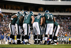 Philadelphia Eagles Offense in a huddle during the NFL Game between the Indianapolis Colts and the Philadelphia Eagles. The Eagles won 26-24 at Lincoln Financial Field in Philadelphia, Pennsylvania on Sunday November 7th 2010. (Photo By Brian Garfinkel)