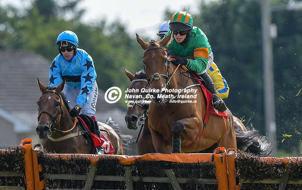 'Highstreet Roller' with Darragh O'Keeffe (yellow and orange hat) winning 'The Bar One Racing `Download Our App` Maiden Hurdle'  at Bellewstown Races.<br /> <br /> Photo: GERRY SHANAHAN-WWW.QUIRKE.IE<br /> <br /> 03-07-2021