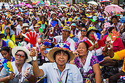 16 MAY 2014 - BANGKOK, THAILAND:  Anti-government protestors in front of the parliament complex in Bangkok. Thousands of protestors from the People's Democratic Reform Committee (PDRC) surrounded the Thai Parliament complex Saturday to pressure the Thai Senate to select an interim Prime Minister to replace ousted former PM Yingluck Shinawatra. The Senate decided not to appoint an interim PM of their own and announced a meeting with the current interim Prime Minister. The protestors left the parliament complex and threatened to return in larger numbers if the Senate doesn't act. The Senate appointment of an acting PM could plunge Thailand into chaos since there is already an interim Prime Minister from the ruling Pheu Thai party.    PHOTO BY JACK KURTZ