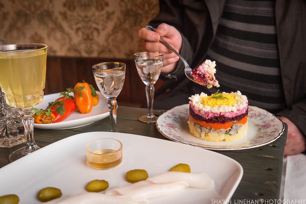 Kachka offers Russian styled appetizers called Cold Zakuski and includes Herring Under a Fur Coat, Pepper Pkhali, and Salo (cured fatback).