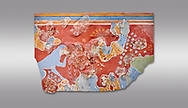 Minoan 'Blue Monkey' wall art fresco from the 'House of Frescoes' Knossos Palace, 1600-1500 BC. Heraklion Archaeological Museum.  Grey Background. .<br /> <br /> If you prefer to buy from our ALAMY PHOTO LIBRARY  Collection visit : https://www.alamy.com/portfolio/paul-williams-funkystock/minoan-art-artefacts.html . Type -   Heraklion   - into the LOWER SEARCH WITHIN GALLERY box. Refine search by adding background colour, place, museum etc<br /> <br /> Visit our MINOAN ART PHOTO COLLECTIONS for more photos to download  as wall art prints https://funkystock.photoshelter.com/gallery-collection/Ancient-Minoans-Art-Artefacts-Antiquities-Historic-Places-Pictures-Images-of/C0000ricT2SU_M9w