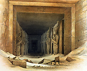Giant limestone statues of Ramses II (Rameses - 1304-1237 BC). Lithograph after Karl Richard Lepsius (1810-1884) Prussian Egyptologist. Each holds crook and flail, symbols of kingship. Archaeology Religion Mythology Ancient Egyptian