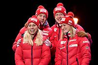 Skiskyting<br /> IBU World Championship<br /> VM 2016 Oslo<br /> Mix-stafett<br /> Foto: Gepa/Digitalsport<br /> NORWAY ONLY<br /> <br /> OSLO,NORWAY,03.MAR.16 - BIATHLON - IBU World Championships, relay 2x6km ladies and 2x7.5km men, mixed team, award ceremony. Image shows Tarjei Bø, Johannes Thingnes Bø, Tiril Eckhoff and Marte Olsbu (NOR).