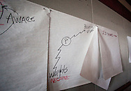 Notes on the wall from a pre-flood planning meeting in the city council chambers at the Veterans Memorial Building in Cedar Rapids on Saturday January 2, 2010. (Stephen Mally/Freelance)