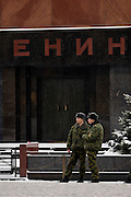 Moscow, Russia, 20/02/2005..Conscript Russian sodliers in front of Lenin's tomb on Red Square.