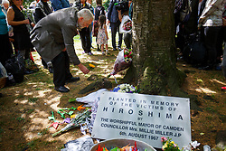 © Licensed to London News Pictures. 06/08/2015. London, UK. Labour Party leader candidate Jeremy Corbyn attends a Campaign for Nuclear Disarmament rally to mark the 70th Anniversary of the atomic bombings of Hiroshima and Nagasaki in Tavistock Square, London on Thursday, August 6, 2015. Photo credit: Tolga Akmen/LNP