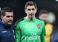 Arsenal's Emiliano Martinez looks on dejected at the final whisle during the Premier League match at Selhurst Park Stadium, London. Picture date: April 10th, 2017. Pic credit should read: David Klein/Sportimage