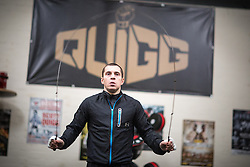 © Licensed to London News Pictures . 18/04/2016 . Bury , UK . Boxer SCOTT QUIGG training at his private gym at a unit on an industrial estate , in Bury . Photo credit : Joel Goodman/LNP