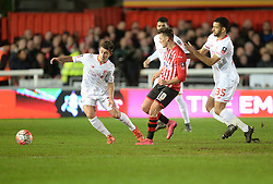 Lee Holmes of Exeter City passes the ball. - Mandatory byline: Alex James/JMP - 08/01/2016 - FOOTBALL - St James Park - Exeter, England - Exeter City v Liverpool - FA Cup Third Round