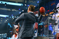 April 26, 2018 - Arlington, TX, U.S. - ARLINGTON, TX - APRIL 26:  Former Dallas Cowboy Quarterback Troy Aikman throws a football into the crowd prior to the first round of the 2018 NFL Draft at AT&T Statium on April 26, 2018 at AT&T Stadium in Arlington Texas.  (Photo by Rich Graessle/Icon Sportswire) (Credit Image: © Rich Graessle/Icon SMI via ZUMA Press)
