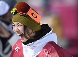 February 19, 2018 - Pyeongchang, South Korea - YUKA FUJIMORI of Japan is all smiles after scoring a 94.25 on her second run in Women's Snowboard Big Air  qualifications Monday, February 19, 2018 at the Alpensia Ski Jumping Centre at the Pyeongchang Winter Olympic Games. The sport is making it's first appearance as an Olympic sport. Fujimori was the second highest qualifier. Photo by Mark Reis, ZUMA Press/The Gazette (Credit Image: © Mark Reis via ZUMA Wire)