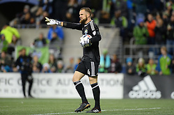 November 30, 2017 - Seattle, Washington, U.S - Soccer 2017: Seattle goalkeeper STEFAN FREI (24) points to his defense during the match as the Houston Dynamo play the Seattle Sounders in the 2nd leg of the MLS Western Conference Finals match at Century Link Field in Seattle, WA. (Credit Image: © Jeff Halstead via ZUMA Wire)