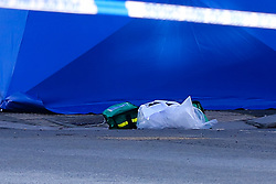 © Licensed to London News Pictures. 23/02/2021. London, UK. Medical kit next to a police tent on West Green Road in Tottenham, north London after a fatal stabbing of a man, believed aged in his 20s. Police were called at approximately 16:00hrs on Monday, 22 February to reports of a man, been stabbed. Officers and London Ambulance Service attended but despite the efforts of the emergency services, he was pronounced dead at the scene. Anas Mezenner, 17, was murder not far from the crime scene on 19 January. Photo credit: Dinendra Haria/LNP