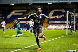 Joe Dodoo of Leicester City celebrates after scoring his sides third goal - Mandatory byline: Matt McNulty/JMP - 07966386802 - 25/08/2015 - FOOTBALL - Gigg Lane -Bury,England - Bury v Leicester City - Capital One Cup - Second Round