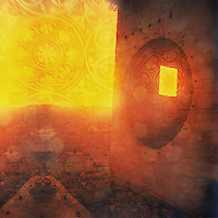 Odd ruin with round and square window. Mandala overlay. Photo based illustration.