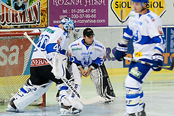 Michael Ouzas and Ales Sila of KHL Medvsecak Zagreb during friendly ice-hockey game between HDD Tilia Olimpija and KHL Medvescak Zagreb, on August 15, 2011, in Hala Tivoli, Ljubljana, Slovenia. (Photo by Matic Klansek Velej / Sportida)