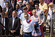 GOP presidential hopeful Senator Rand Paul stands with Congressmen and former Governor Mark Sanford (left) before being introduced at a campaign rally in front of the aircraft carrier USS Yorktown on April 9, 2015 in Mt Pleasant, South Carolina.  Paul outlined a foreign policy vision built both on a strong military and a commitment to use it sparingly.