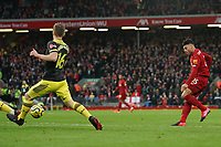 Football - 2019 / 2020 Premier League - Liverpool vs. Southampton<br /> <br /> Liverpool's Alex Oxlade-Chamberlain scores his sides first goal  <br /> <br /> Colorsport / Terry Donnelly