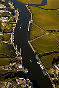 Aerial view of Shem Creek in Mt Pleasant, SC