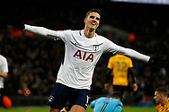 Erik Lamela of Tottenham Hotspur celebrates after scoring his team's second goal. The Emirates FA Cup, 4th round replay match, Tottenham Hotspur v Newport County at Wembley Stadium in London on Wednesday 7th February 2018.<br /> pic by Steffan Bowen, Andrew Orchard sports photography.