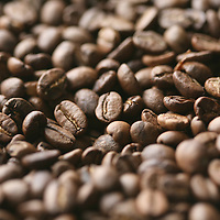 Close-up of roasted coffee at SIGLO XXI in El Salvador.