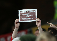 An Arsenal fan holds up an anti-Wenger poster during the Premier League match at Selhurst Park Stadium, London. Picture date: April 10th, 2017. Pic credit should read: David Klein/Sportimage