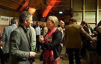 UTRECHT -  Maurice Hermans met Suzanne Rozema (Burggolf) , A tribe called Golf, de kracht van de connectie. Nationaal Golf Congres van de NVG 2014 , Nederlandse Vereniging Golfbranche. COPYRIGHT KOEN SUYK