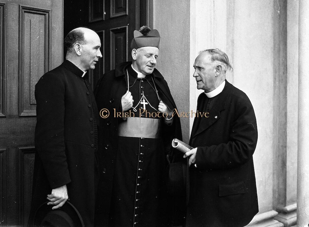 12/08/1952 <br /> 08/12/1952<br /> 12 August 1952<br /> Muintir na Tire, Rural Week at Summerhill College, Sligo. Pictured at the event are (l-r): Rev. J. McCarthy, D.D. Professor, Maynooth; Most Rev. Dr Vincent Hanley, Bishop of Elphin, and Rev. Fr. J.M. Hayes, Parish Priest of Bansha and a founder of Muintir na Tíre.
