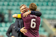 Craig Levein, manager of Heart of Midlothian and Christophe Berra (#6) of Heart of Midlothian celebrate at the final whistle of the Ladbrokes Scottish Premiership match between Hibernian FC and Heart of Midlothian FC at Easter Road Stadium, Edinburgh, Scotland on 29 December 2018.