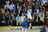 The Washington Wizards defeated the Cleveland Cavaliers 88-87 in Game 5 of the First Round of the NBA Playoffs, April 30, 2008 at Quicken Loans Arena in Cleveland..LeBron James of Cleveland shoots over Antonio Daniels of Washington.