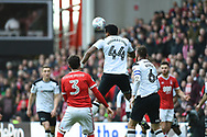 Derby County midfielder Tom Huddlestone (44) heads the ball during the EFL Sky Bet Championship match between Nottingham Forest and Derby County at the City Ground, Nottingham, England on 11 March 2018. Picture by Jon Hobley.