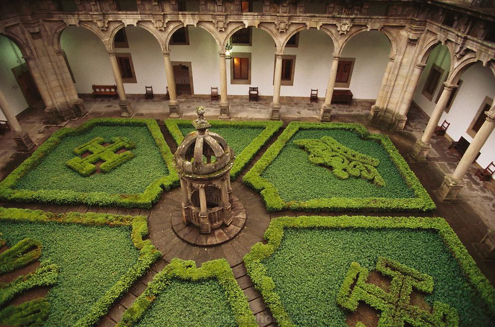 Courtyard of the Hostal de Los Reyes Catolicos Parador (Hotel) in Santiago de Compostela, Spain.