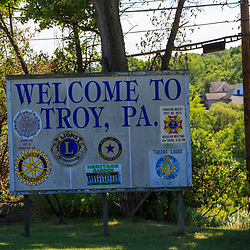 Troy, PA - July 26, 2016: A Troy sign on US Route 6.