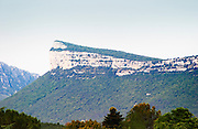 The Montagne Massif d'Hortus mountain cliff. Pic St Loup. Languedoc. France. Europe.