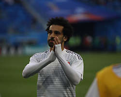 June 19, 2018 - St. Petersburg, Russia - June 19, 2018, Russia, St. Petersburg, FIFA World Cup 2018, First round, Group A, Second round, Russia - Egypt at the St Petersburg stadium. Player of the national team Mohamed Salah (Credit Image: © Russian Look via ZUMA Wire)