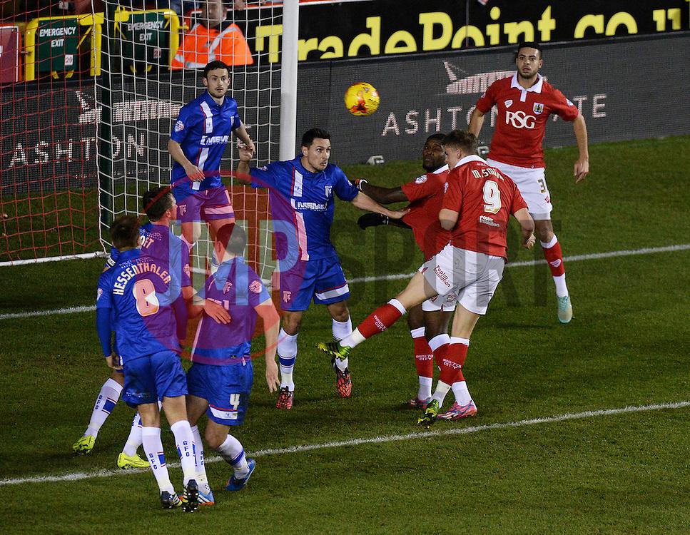 Bristol City's Matt Smith scores a goal. - Photo mandatory by-line: Alex James/JMP - Mobile: 07966 386802 - 29/01/2015 - SPORT - Football - Bristol - Ashton Gate - Bristol City v Gillingham - Johnstone Paint Trophy Southern area final