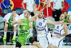 Zoran Dragic of Slovenia vs Kostas Koufos of Greece during basketball match between Slovenia vs Greece at Day 5 in Group C of FIBA Europe Eurobasket 2015, on September 9, 2015, in Arena Zagreb, Croatia. Photo by Vid Ponikvar / Sportida