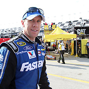 NASCAR Sprint Cup driver Carl Edwards (99) is seen in the pits during the practice session prior to the NASCAR Sprint Unlimited Race at Daytona International Speedway on Saturday, February 16, 2013 in Daytona Beach, Florida.  (AP Photo/Alex Menendez)