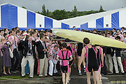 Henley, GREAT BRITAIN,  2012 Henley Royal Regatta. Supporters of Abingdon School, celebrate, as the crew carry the boat to the Boathouse, after they won the Princess Elizabeth Challenge Cup. Sunday  14:59:40  01/07/2012 [Mandatory Credit, Intersport-images] ..Rowing Courses, Henley Reach, Henley, ENGLAND . HRR.